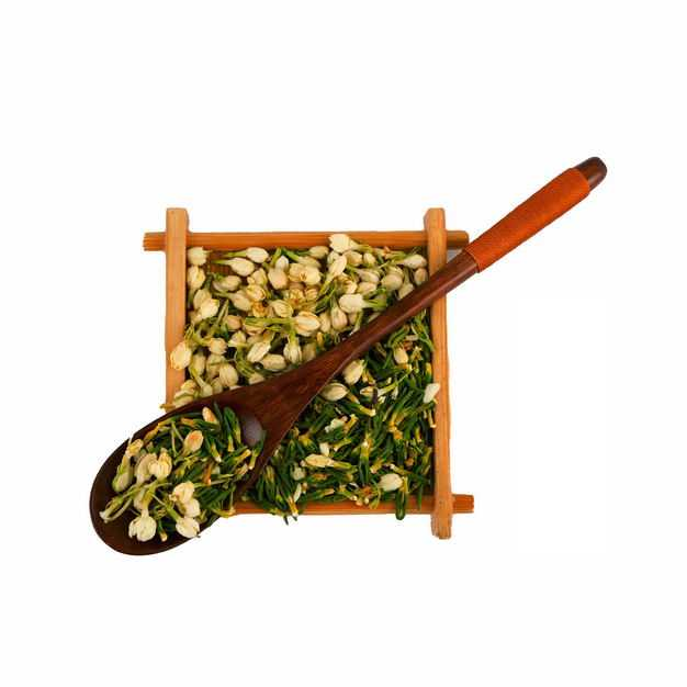 木头盘子和勺子中的茉莉花茶和葛花茶等养生花茶464596png图片免抠素材
