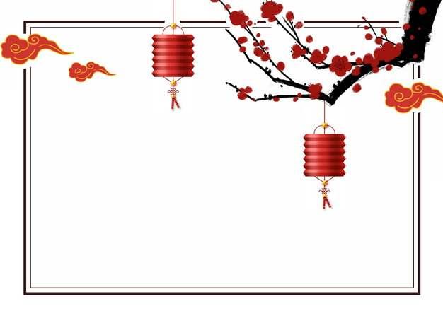 红色梅花和祥云图案红灯笼新年春节边框953380PSD图片免抠素材