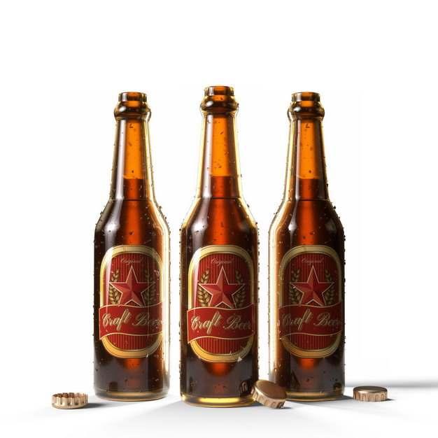三瓶打开盖子的啤酒瓶213506png图片素材