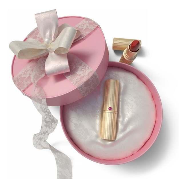 打开包装的精美粉红色圆形礼物盒中的高档口红352727png图片免抠素材