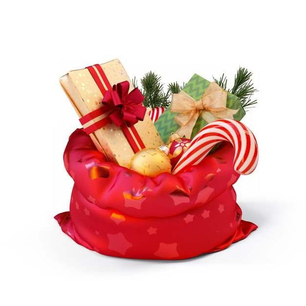 圣诞节红色礼物袋中的各种圣诞礼物342793png图片素材