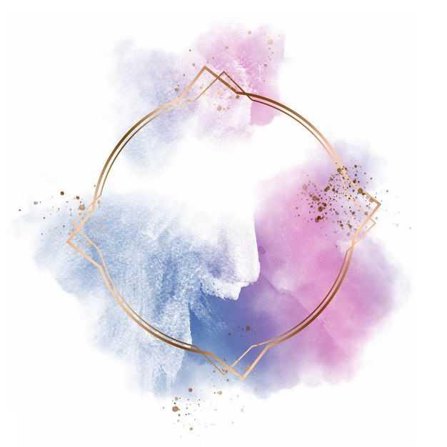 金色圆形边框和红色紫色墨水渍装饰660455免抠图片素材
