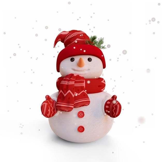 大雪天里戴着红色帽子围巾和手套的卡通雪人630694png图片素材