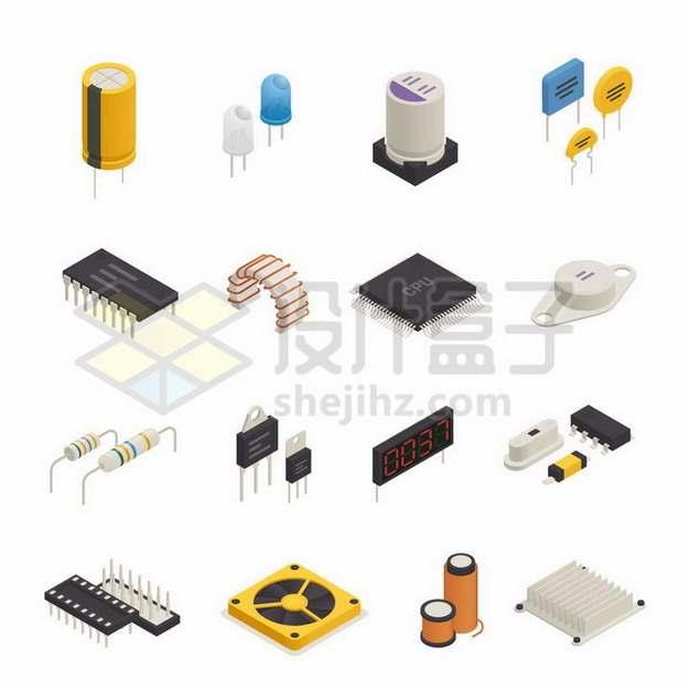 2.5D风格电解电容器发光二极管电感器等电子元器件589458png矢量图片素材