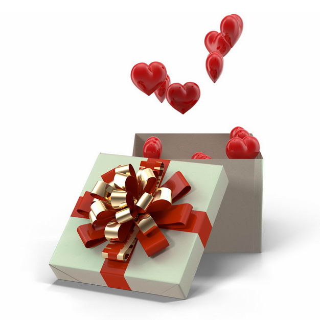 打开的白色礼物盒中飞出的红心3D立体心形396817免抠图片素材