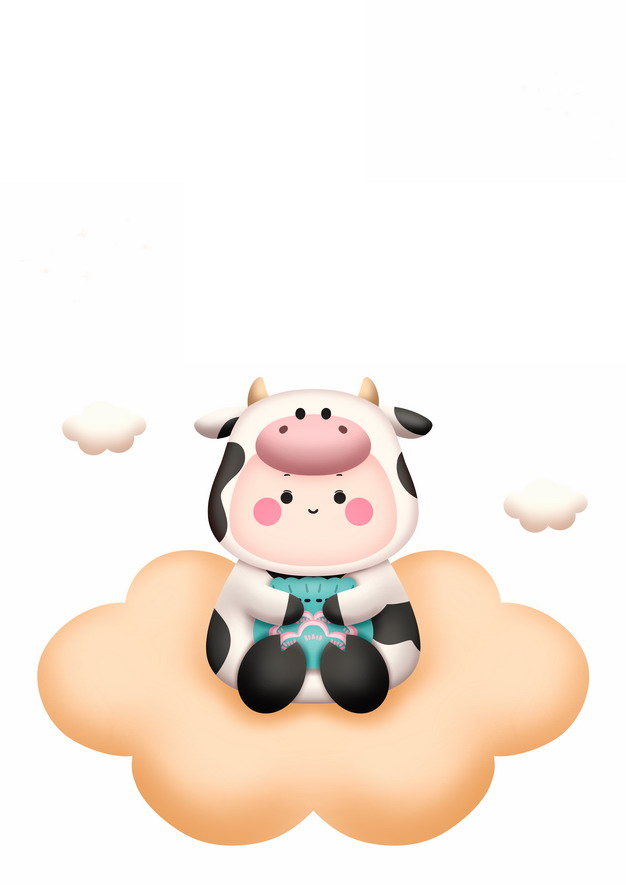 卡通穿着奶牛衣服的小孩坐在云朵上牛年插画494593PSD图片免抠素材 节日素材-第1张