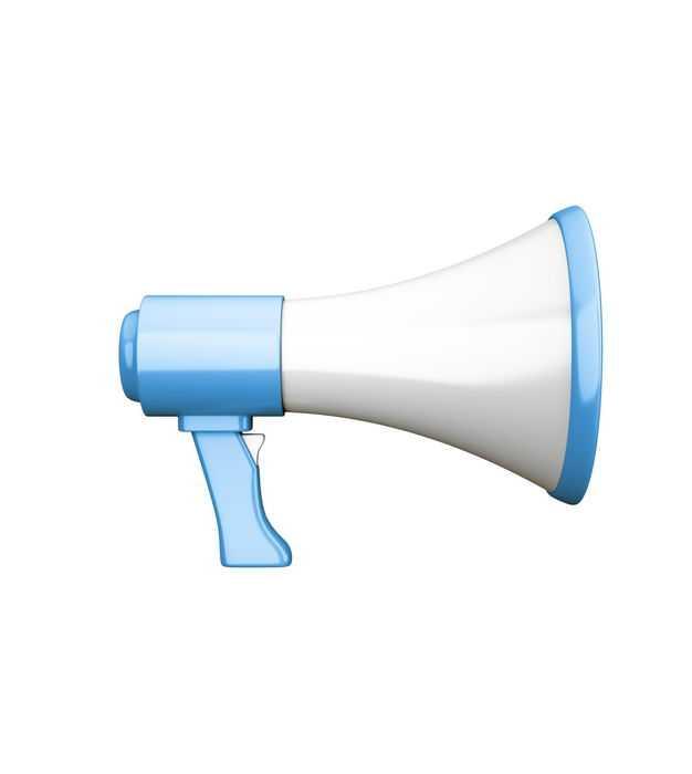 蓝白色的3D立体大喇叭扬声器105281PSD免抠图片素材