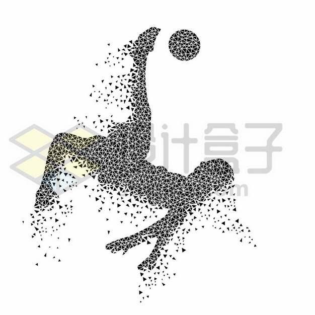 创意黑色三角形组成的足球运动员踢足球540279图片素材