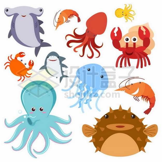 锤头鲨螃蟹章鱼寄居蟹水母等卡通海洋动物994635png矢量图片素材