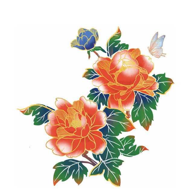 中国风牡丹花插画224370免抠图片素材