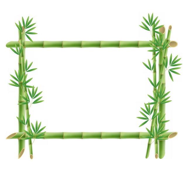 绿色竹竿竹叶竹子组成的边框方框9489755png图片免抠素材