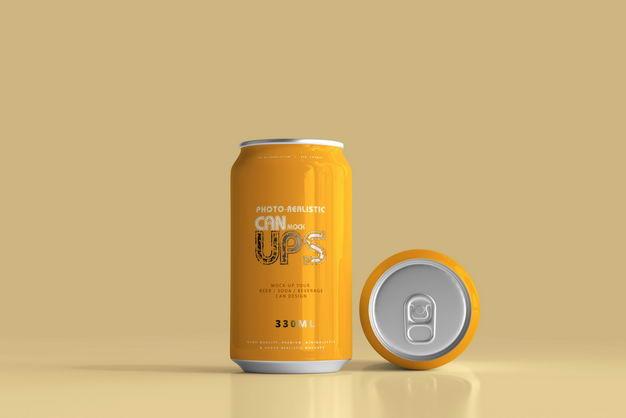 橙色330毫升易拉罐饮料包装显示样机286055PSD免抠图片素材 样机-第1张