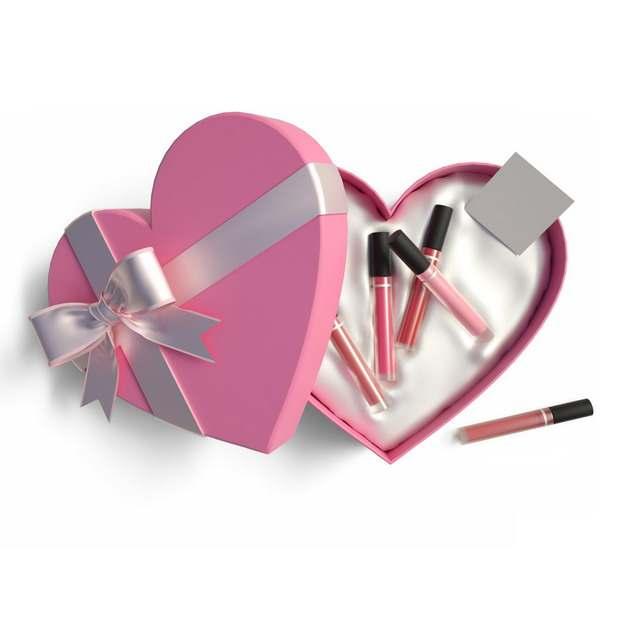打开的粉红色心形礼物盒和里面的高档指甲油化妆品120663png图片免抠素材