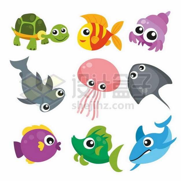 海龟寄居蟹锤头鲨水母鳐鱼等卡通海洋动物320042png矢量图片素材