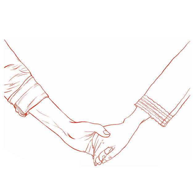 手牵手的情侣情人节手绘线条素描插画985737免抠图片素材