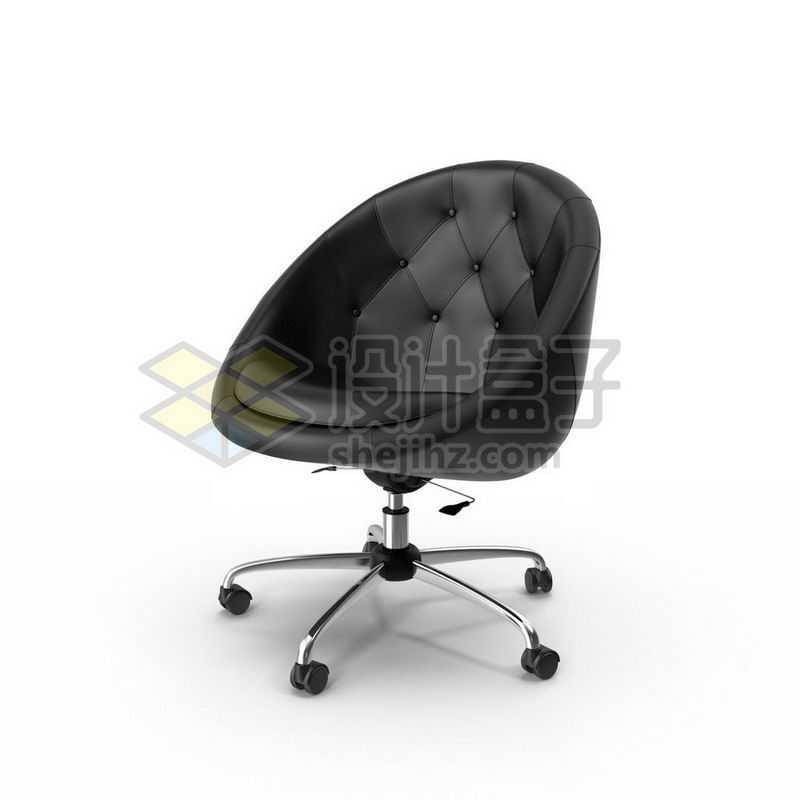 3D立体高清黑色皮质转椅家用电脑椅办公椅子1103770图片免抠素材