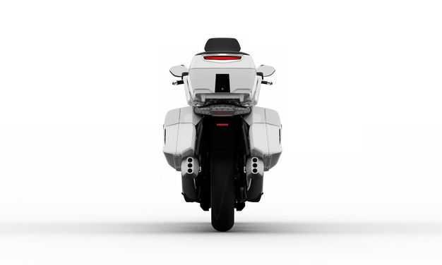 白色重机车公路摩托车后方视角5517715PSD图片素材