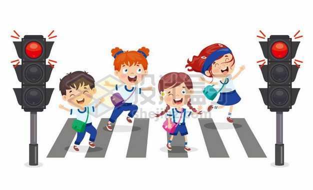 卡通小学生红绿灯斑马线过马路交通安全配图8512258png图片免抠素材