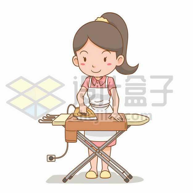 卡通女孩家庭主妇正在用熨斗烫平衣服7369359png图片免抠素材