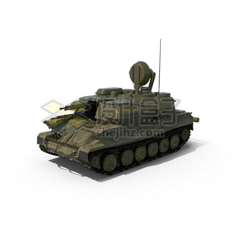 3D立体高清履带式防空炮高射炮武器战车模型2450403图片免抠素材