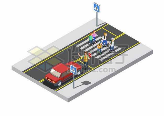 2.5D风格小学生红绿灯斑马线过马路交通安全配图5625182png图片免抠素材