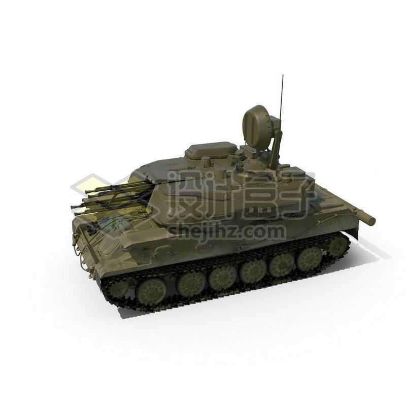 3D立体高清履带式防空炮高射炮武器战车模型2181953图片免抠素材