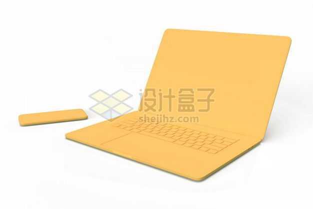 3D立体黄色笔记本电脑和手机模型7305226图片免抠素材
