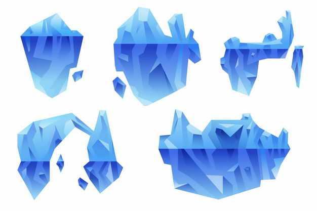 五款蓝色南极北极冰山浮冰水面和水下部分6012766EPS图片免抠素材