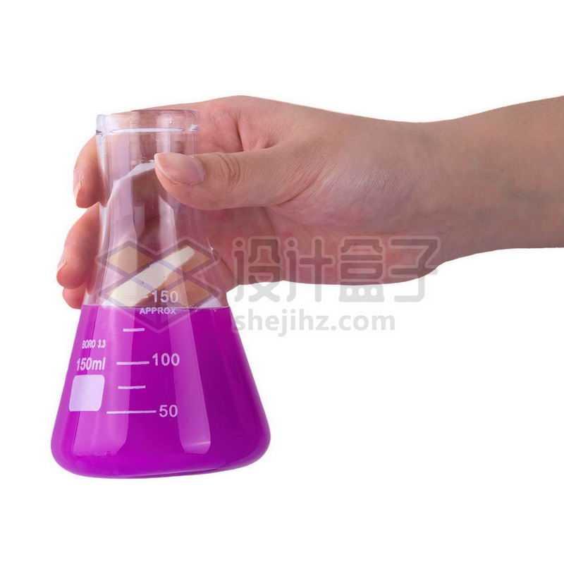 一只手拿着紫色液体的锥形烧瓶等化学实验仪器3939307png图片免抠素材