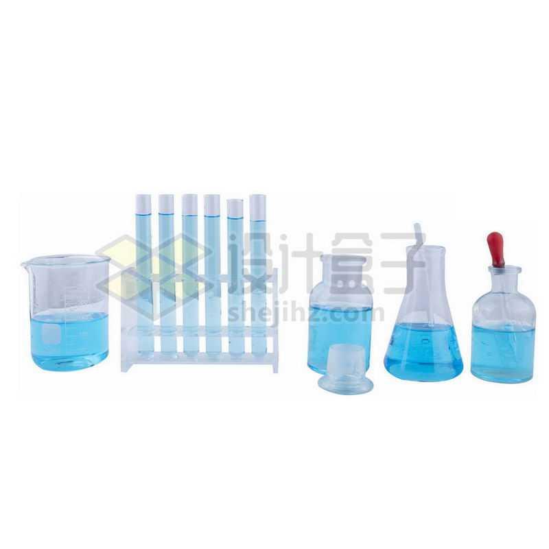 蓝色液体烧杯试管玻璃广口试剂瓶锥形瓶和滴管等化学实验仪器7591091png图片免抠素材