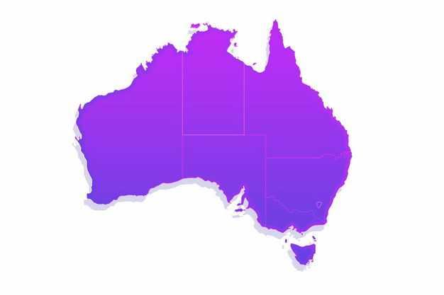 紫色带阴影3D立体澳大利亚地图9522110png图片免抠素材