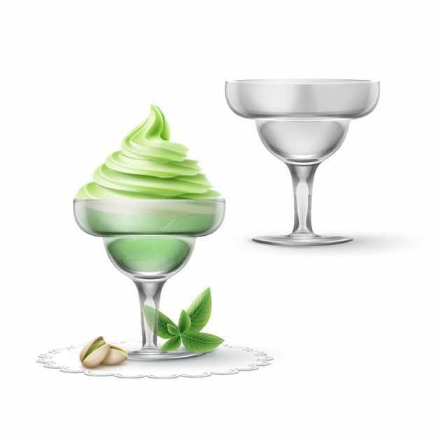 玻璃杯中的绿色冰淇淋美味冷饮7712202EPS图片免抠素材