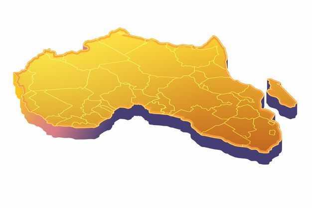 黄色3D立体非洲地图7722768png图片免抠素材