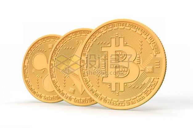 3D立体金色比特币以太币等加密货币金币模型6375192图片免抠素材