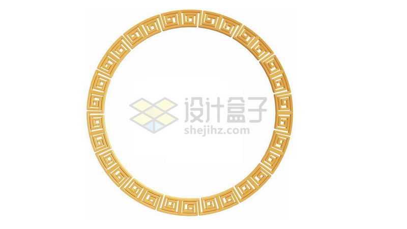 3D立体金色回字纹组成的圆环图案6191562图片免抠素材