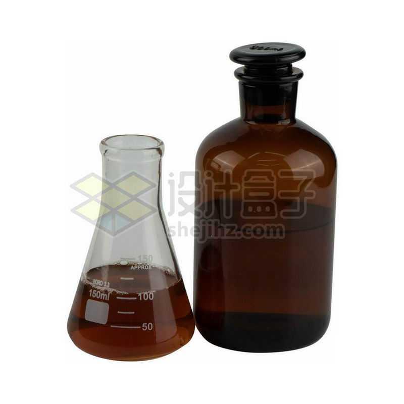 锥形烧瓶和玻璃广口试剂瓶等化学实验仪器9484368png图片免抠素材