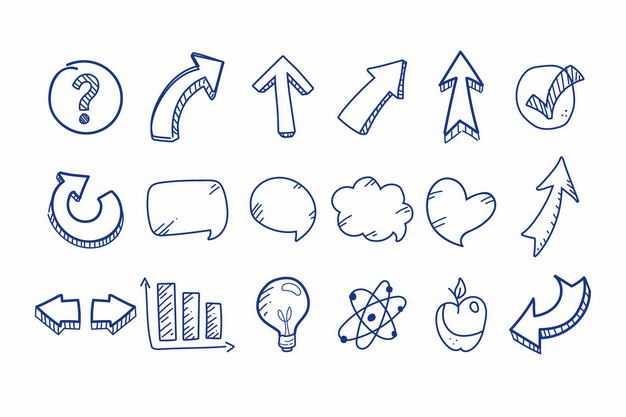 涂鸦风格问号方向箭头对话框柱形图等手绘图案6842922png图片免抠素材