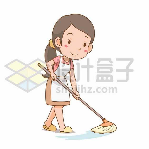 卡通女孩正在用拖把拖地4670550png图片免抠素材