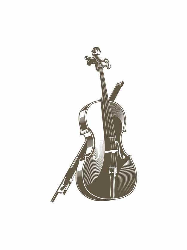 复古风格大提琴音乐乐器插画9591814EPS图片免抠素材