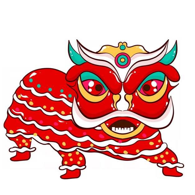 新年春节节日活动上的红色卡通舞狮子2619902png图片免抠素材