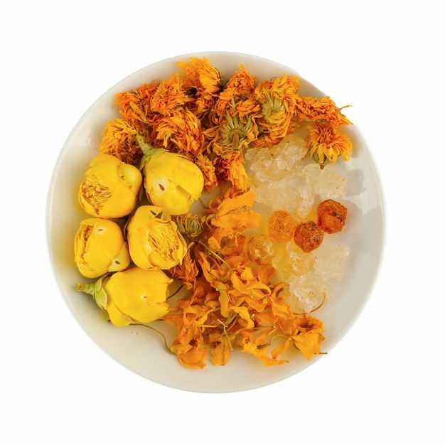 白色盘子中的冰糖和黄玫瑰花茶金盏花合欢花茶等养生花茶149846png图片免抠素材