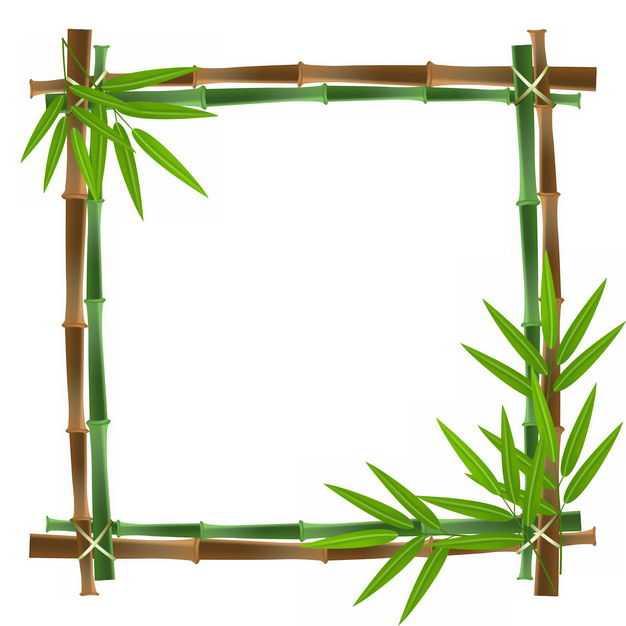 绿色竹竿竹叶竹子组成的方形边框9369174png图片免抠素材