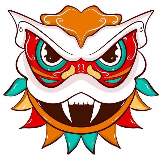 中国风彩绘舞狮子的狮子头图案5377737png图片免抠素材