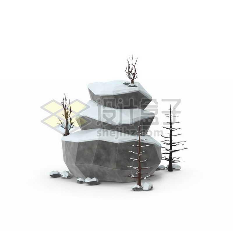 冬天积雪的大石头枯树干雪景4408794图片免抠素材