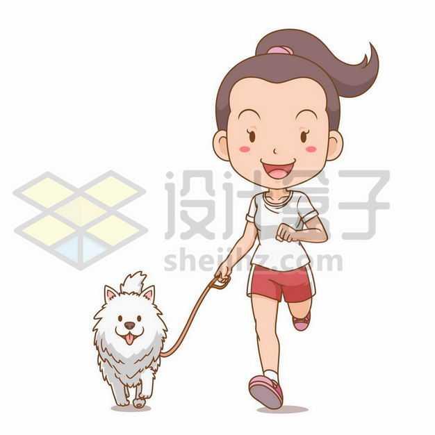 和狗狗一起奔跑的跑步卡通女孩遛狗7256422png图片免抠素材