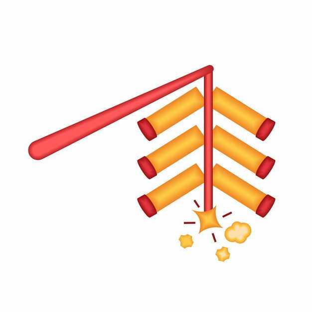 中国风卡通竹竿上的新年春节鞭炮装饰8349033矢量图片免抠素材