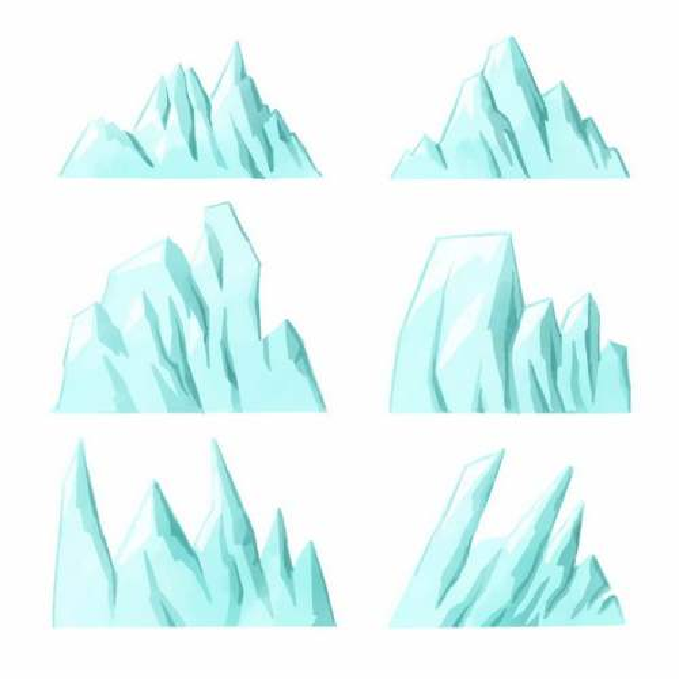 六款露出水面的南极北极冰山浮冰4034008EPS图片免抠素材
