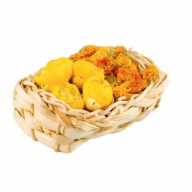 竹篮子中的黄玫瑰花茶金盏花金丝皇菊等养生花茶778443png图片免抠素材