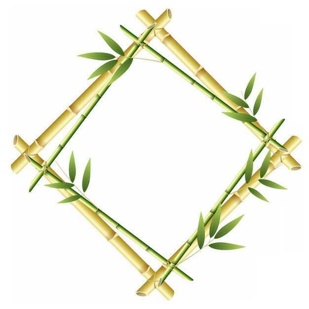 绿色竹竿竹叶竹子组成的菱形边框4008298png图片免抠素材