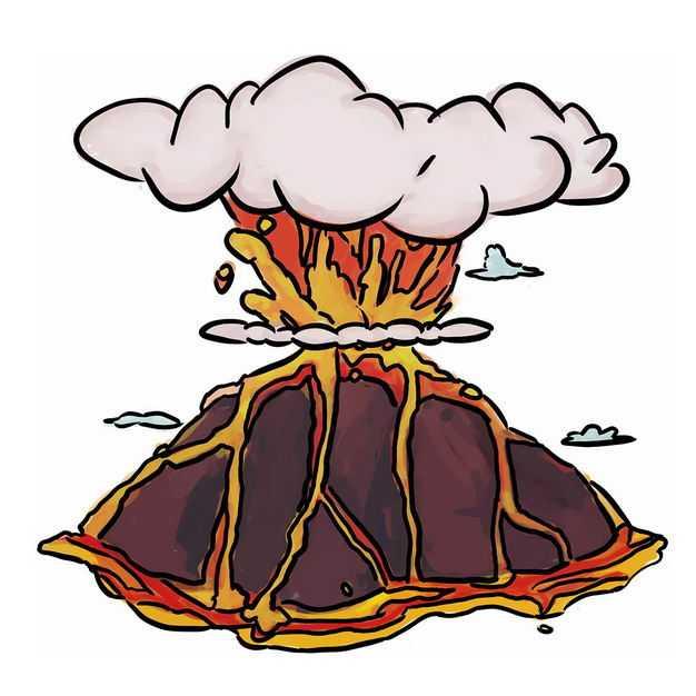 手绘风格卡通火山爆发出岩浆和火山灰5891134png图片免抠素材